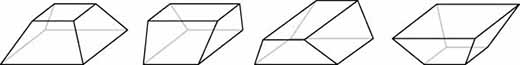 The truncated pyramid can produce four general shapes.